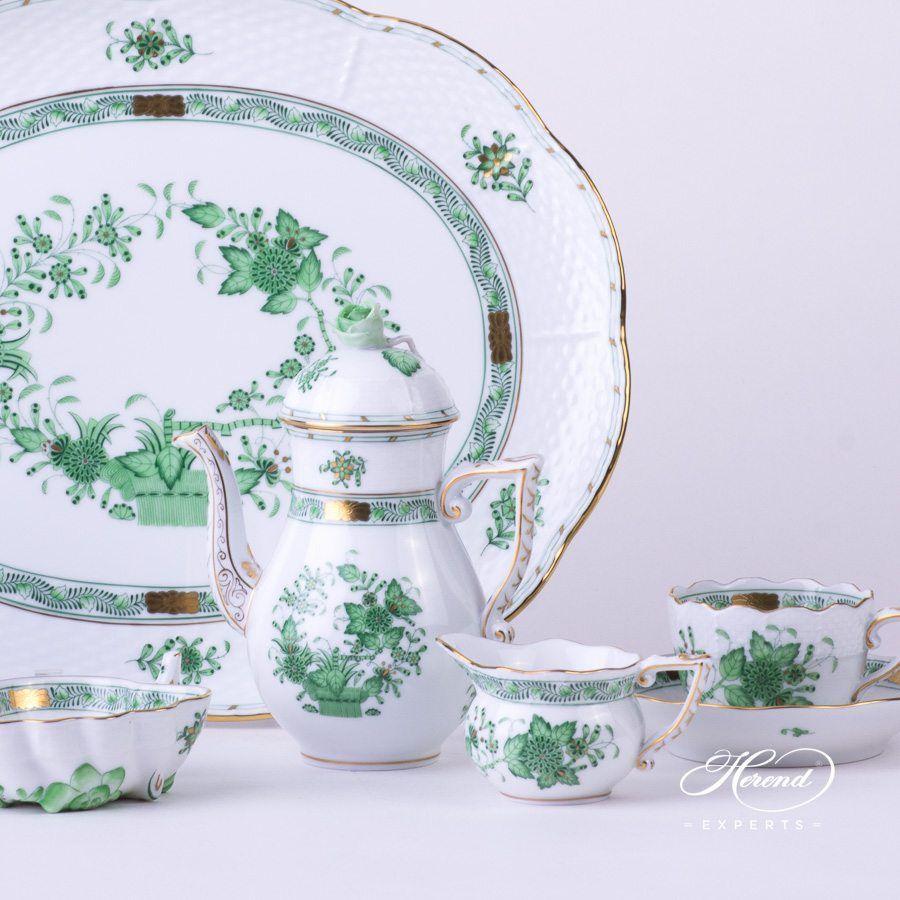 奶缸 –印度花篮绿色 – 赫伦细瓷