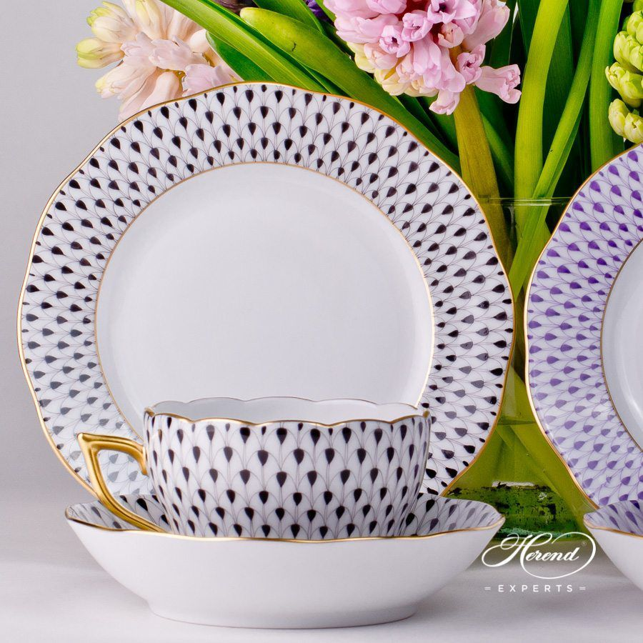 早餐套装 – 鱼鳞纹紫色和丁香色 – 赫伦瓷器