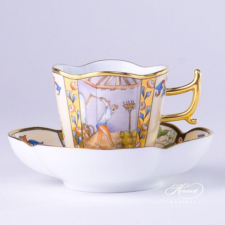 咖啡杯 – 中世纪村落 – 八月- 赫伦细瓷
