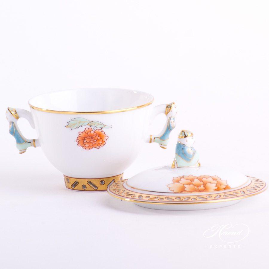 糖罐 – 粉牡丹 – 赫伦细瓷