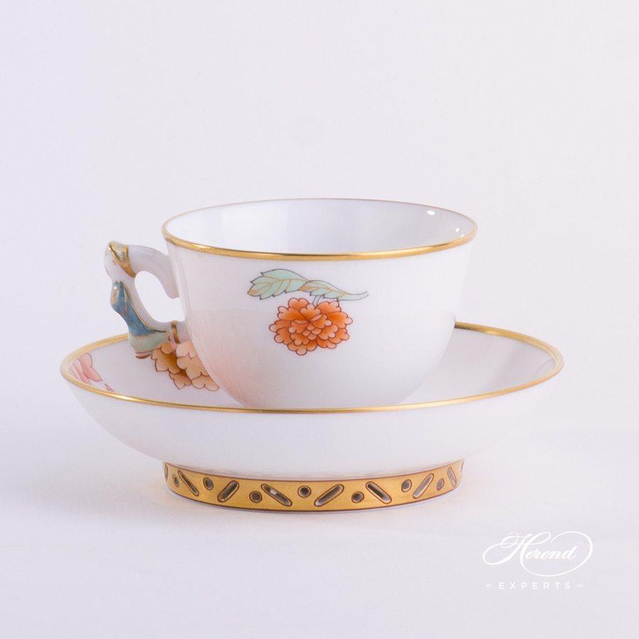 咖啡/浓缩咖啡杯 – 粉色牡丹 – 赫伦细瓷