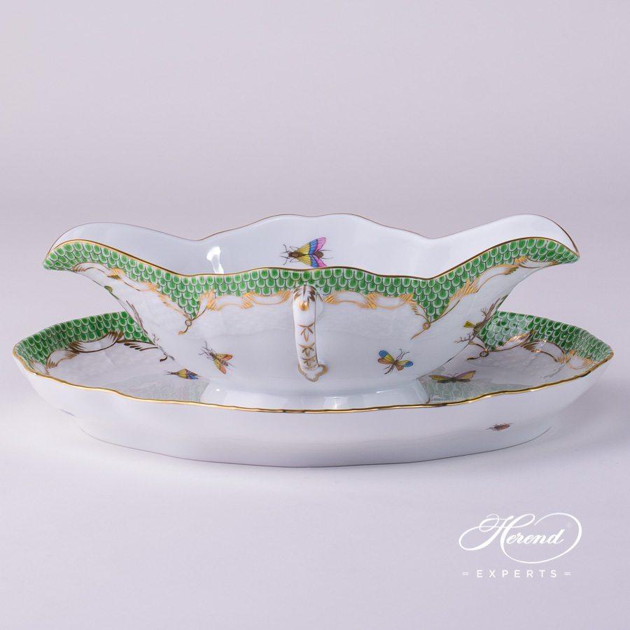 配椭圆盘船型酱料碗 – 罗丝柴尔德鸟 绿色鱼鳞纹 – 赫伦细瓷