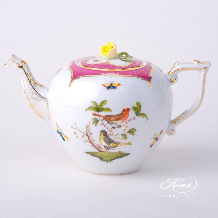茶壶 – 罗丝柴尔德鸟 紫色鱼鳞纹 – 赫伦细瓷