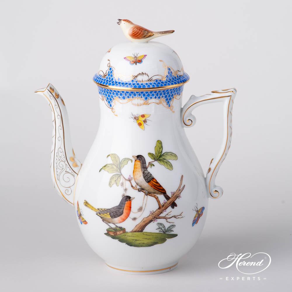 咖啡壶 – 罗丝柴尔德鸟 蓝色鱼鳞纹 – 赫伦细瓷