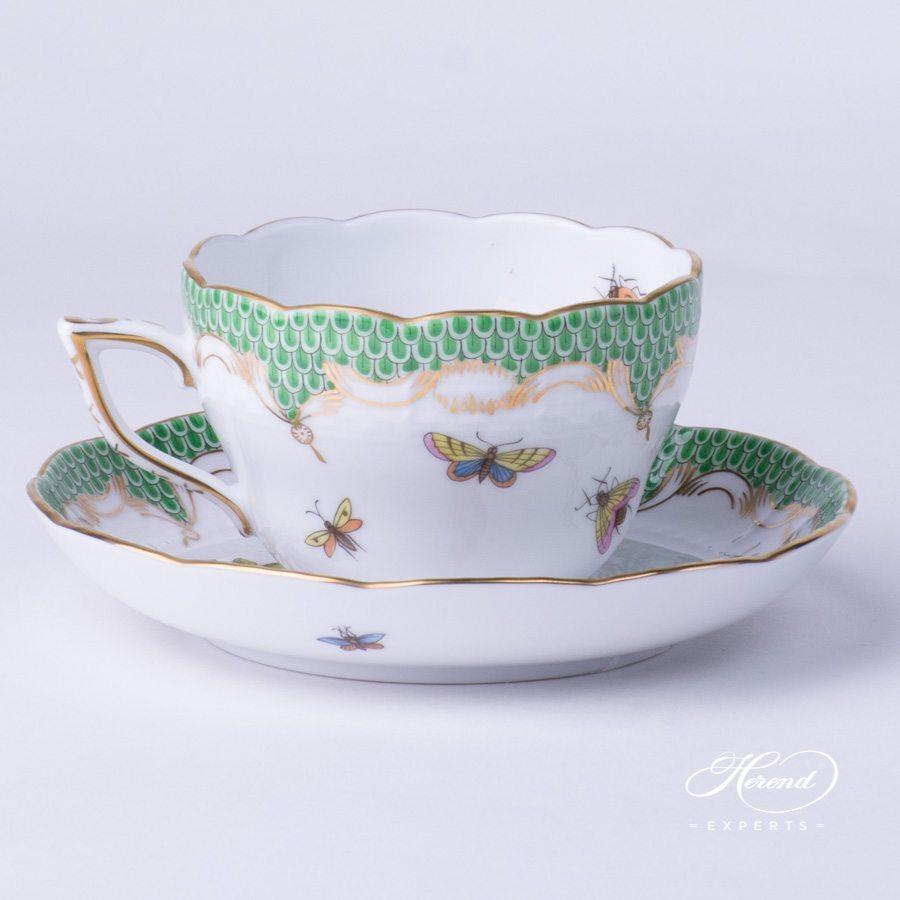 茶杯 – 罗丝柴尔德鸟绿色鱼鳞纹 – 赫伦细瓷