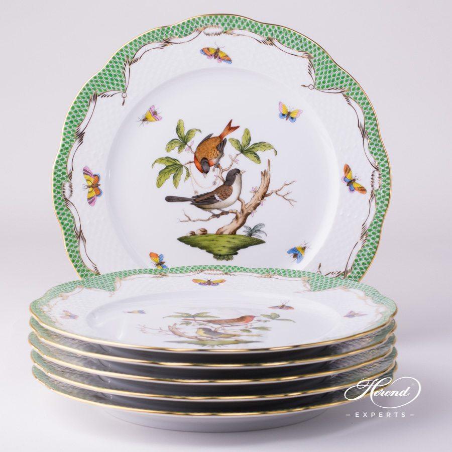 分餐盘– 6 件– 罗丝柴尔德鸟绿色鱼鳞纹- 赫伦细瓷
