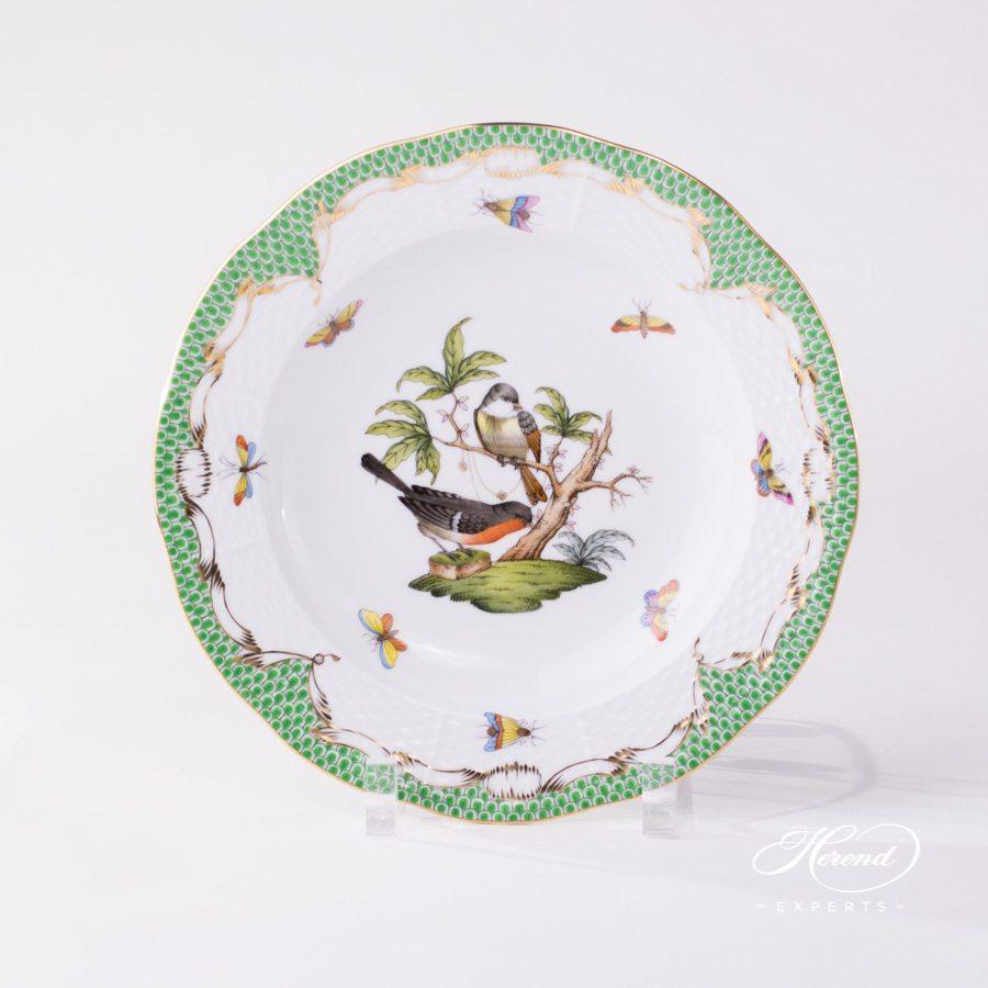汤盘 – 罗丝柴尔德鸟 绿色鱼鳞纹 – 赫伦细瓷