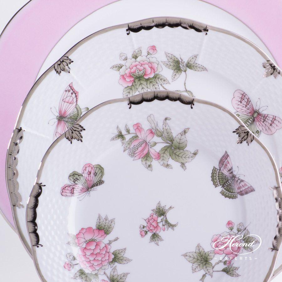 餐位餐具三件 – 维多利亚女王白金款 – 赫伦细瓷