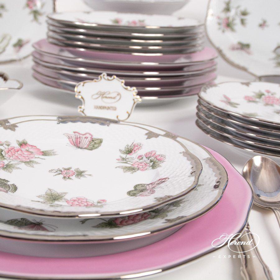 分餐盘/主盘 – 粉边 白金 – 赫伦细瓷