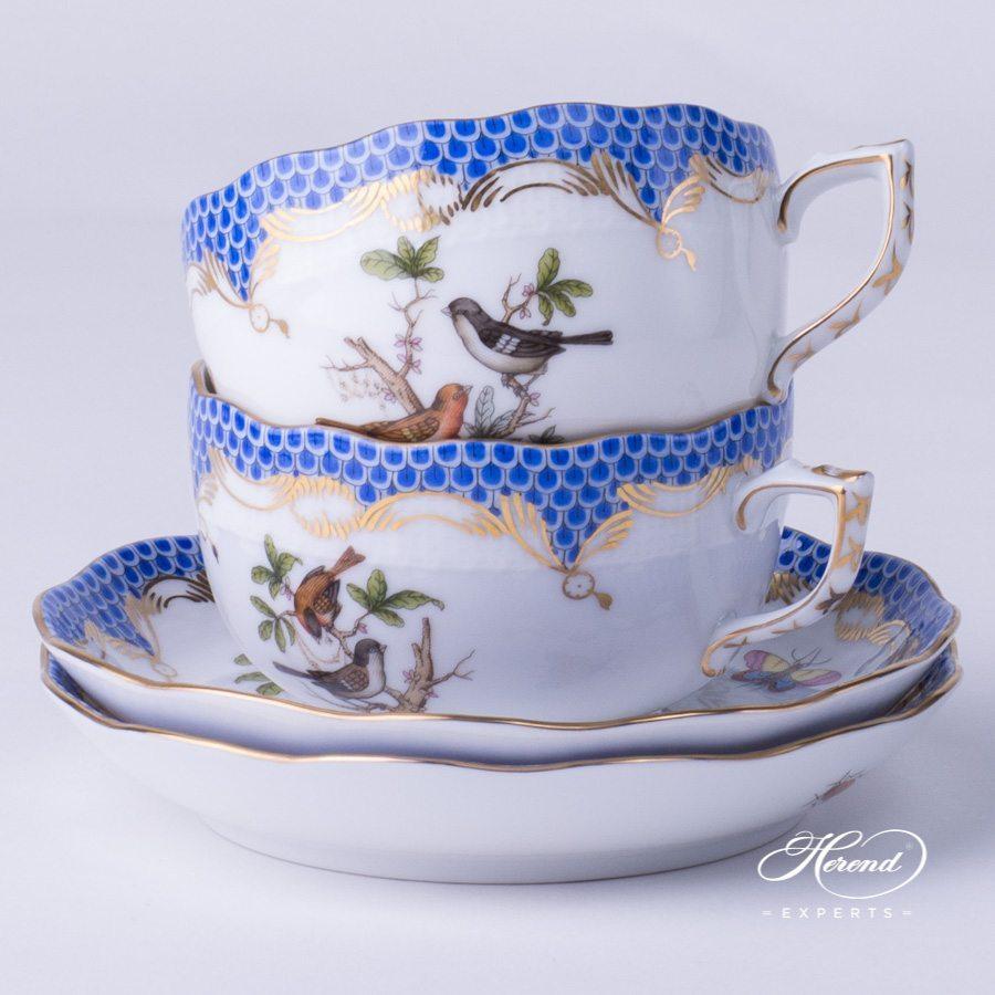 配甜点盘的茶杯 – 罗丝柴尔德鸟 蓝色鱼鳞纹 – 赫伦细瓷