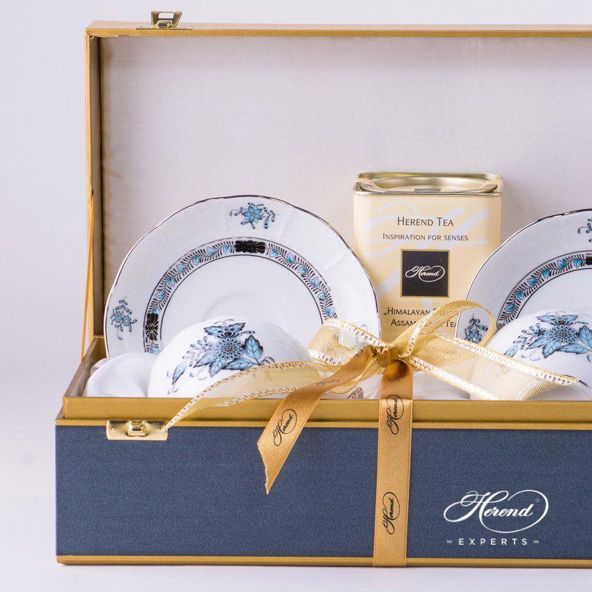 礼盒装 双人份 茶杯 – 中国花束 / 阿波尼绿松石 – 赫伦细瓷