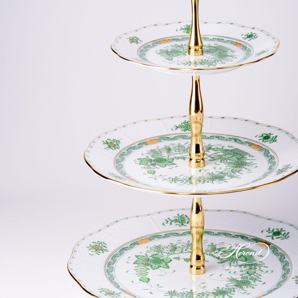 3层蛋糕架 – 印度花篮绿色- 赫伦细瓷