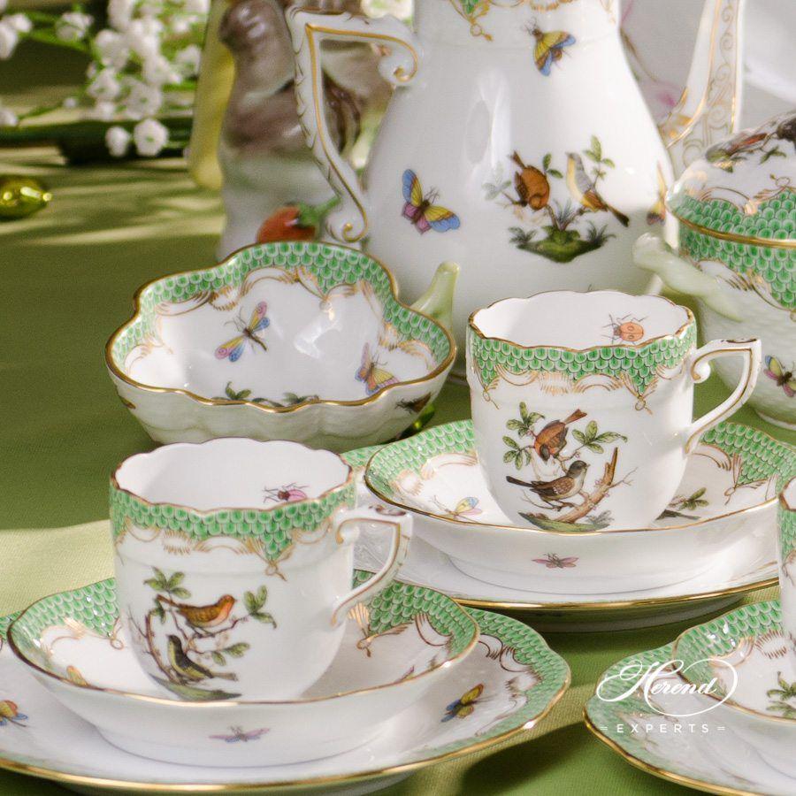 六人份咖啡套装 – 罗丝柴尔德鸟 绿色鱼鳞纹 – 赫伦细瓷