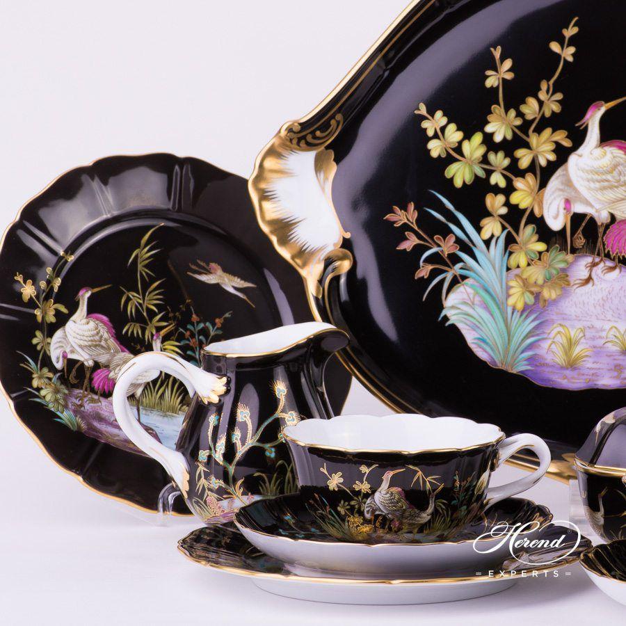 茶具套装 双人用 – 水鸟 – 黑色 – 赫伦细瓷