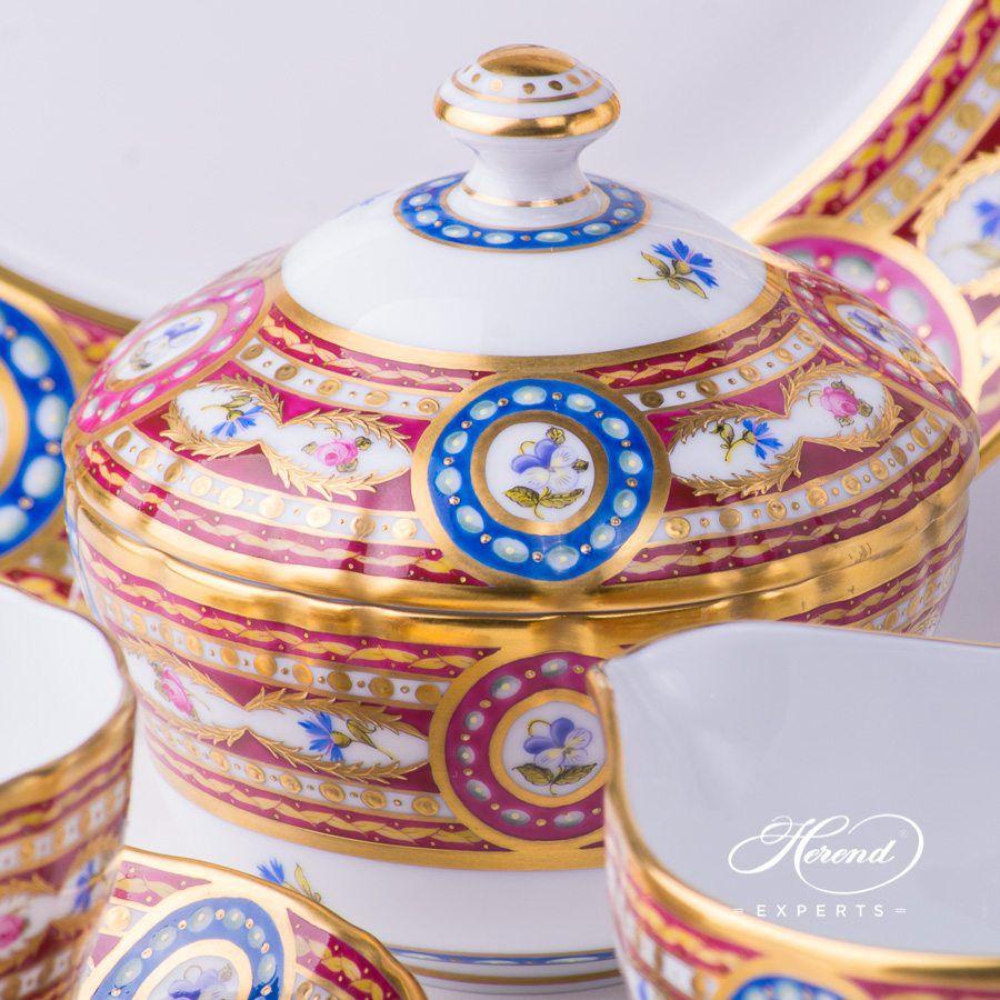 糖罐 – 织锦蔷薇 – 赫伦细瓷