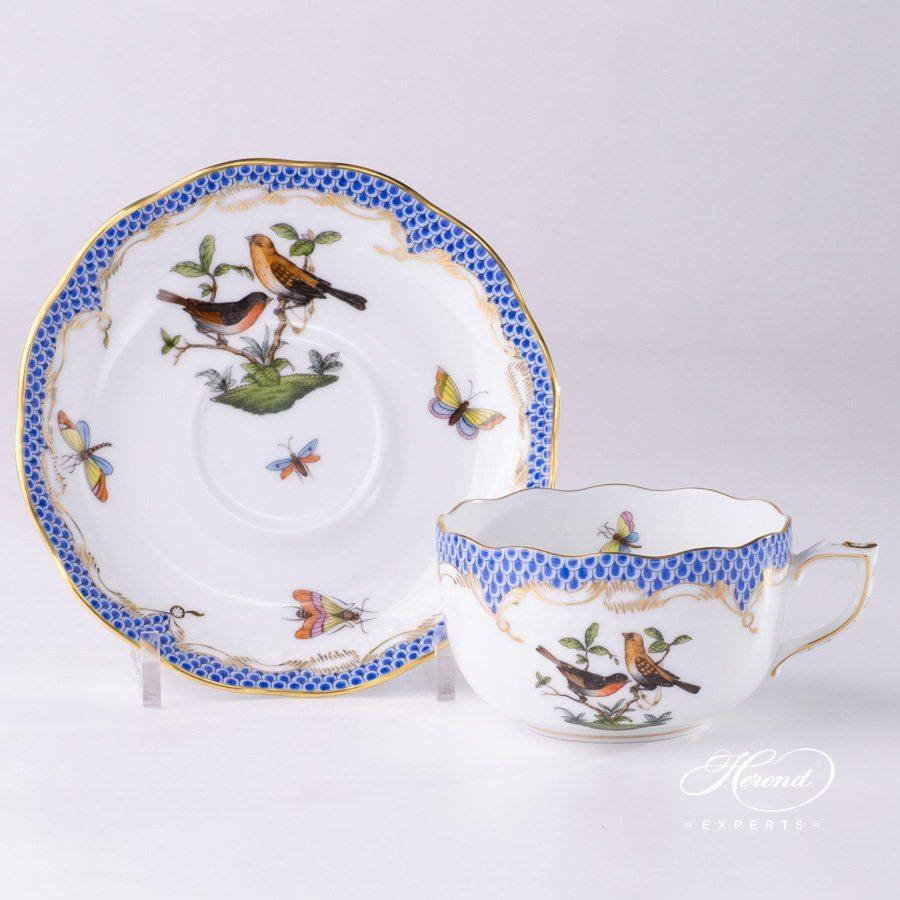 茶杯 – 罗丝柴尔德鸟 蓝色鱼鳞纹 – 赫伦细瓷