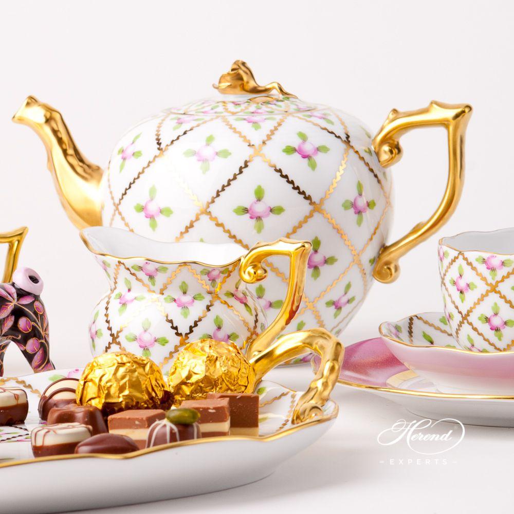 配小蛋糕盘双人用茶具套装 – 赛弗勒玫瑰 – 赫伦细瓷