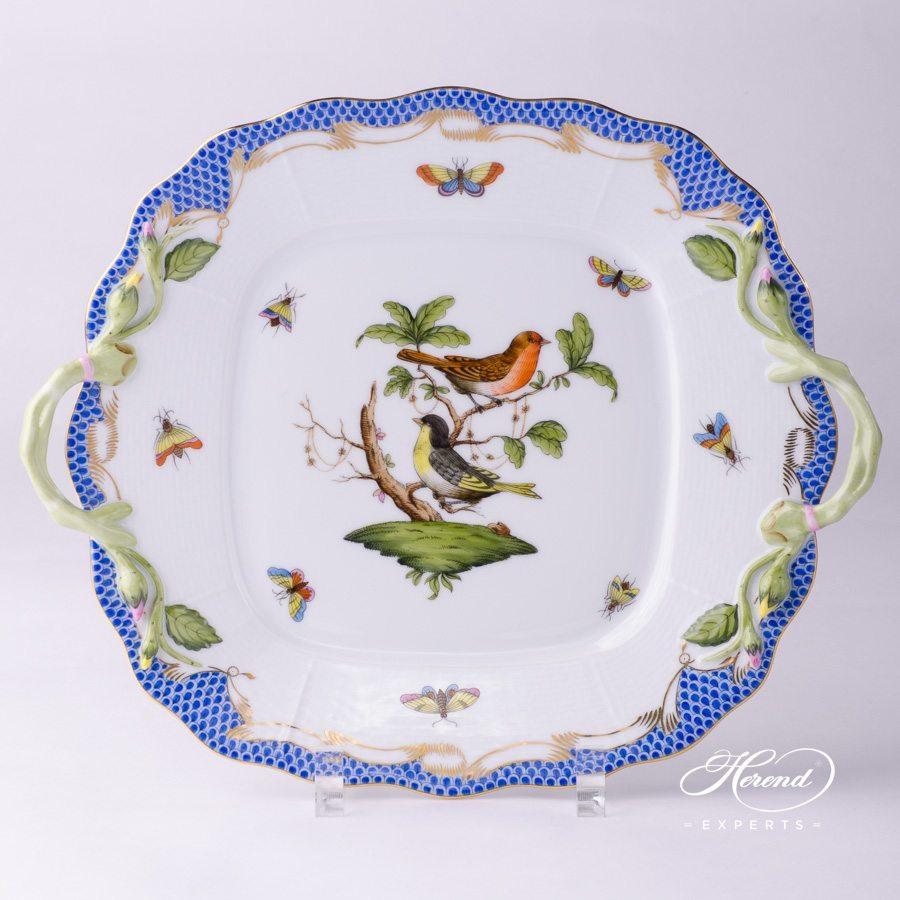 蛋糕盘 – 罗丝柴尔德鸟 蓝色鱼鳞纹 – 赫伦细瓷