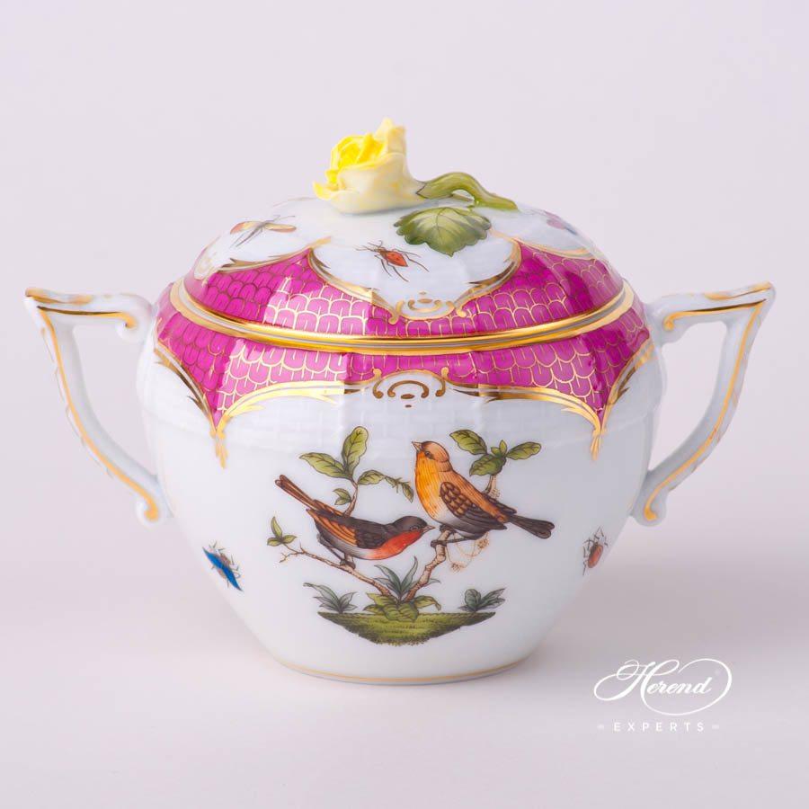 糖罐 – 罗丝柴尔德鸟 紫色鱼鳞纹 – 赫伦细瓷