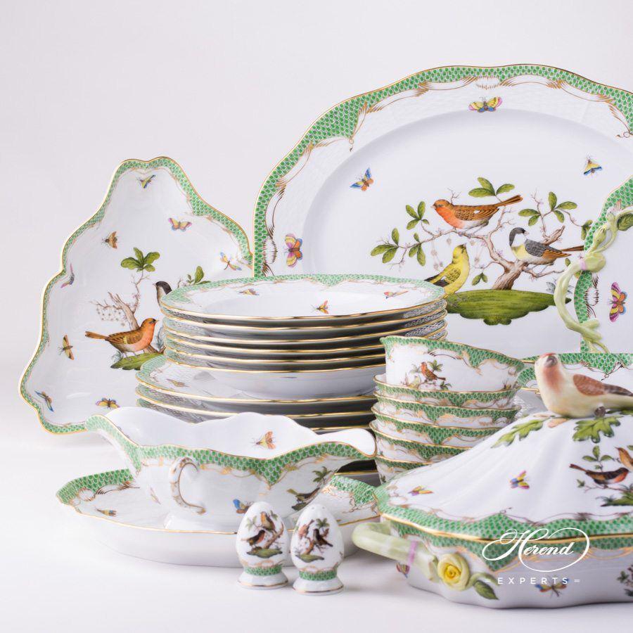 六人份晚餐套装 – 罗丝柴尔德鸟 绿色鱼鳞纹 – 赫伦细瓷