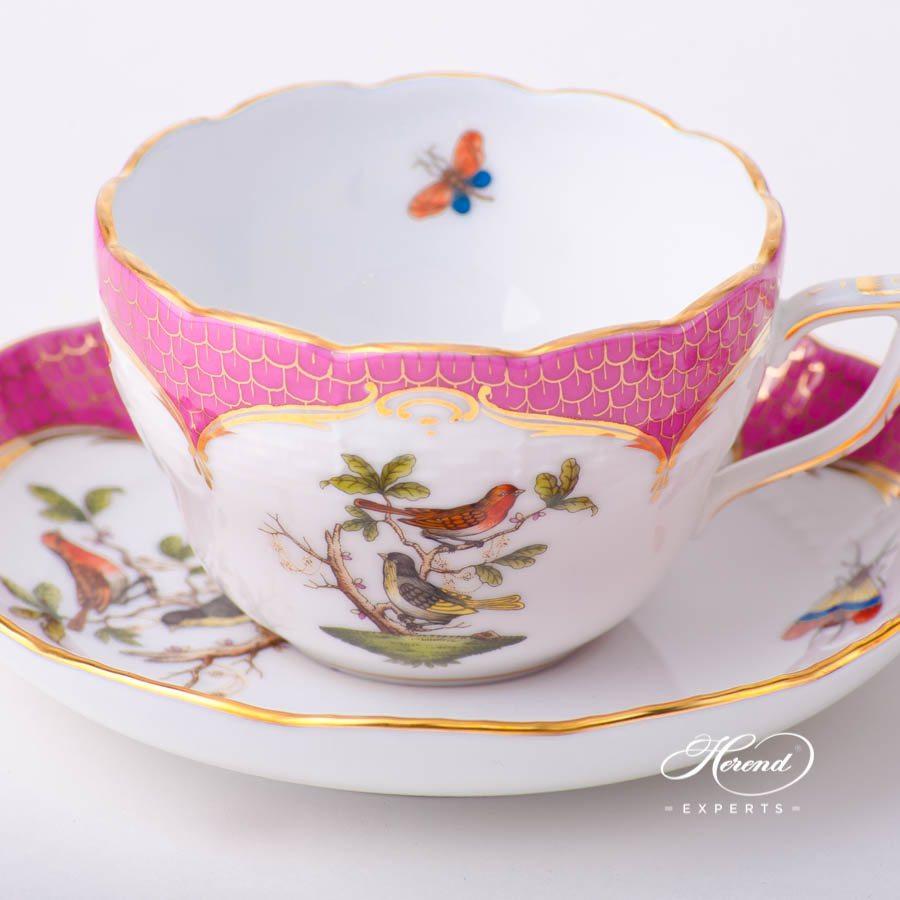 茶杯 – 罗丝柴尔德鸟 紫色鱼鳞纹 – 赫伦细瓷