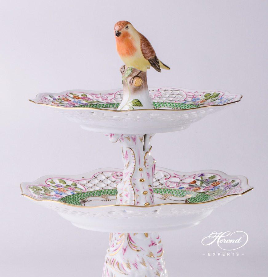 双层蛋糕架 – 罗丝柴尔德鸟 绿色鱼鳞纹 – 赫伦细瓷