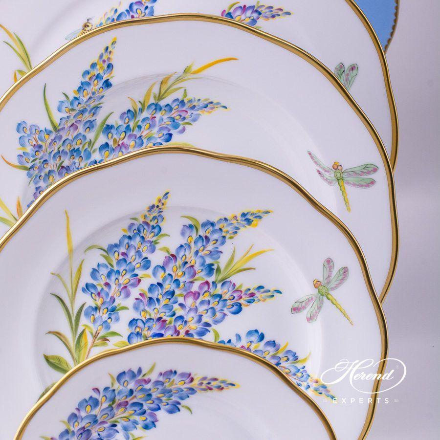配茶杯的餐位餐具– 8 件– 德州蓝矢车菊 – 赫伦细瓷