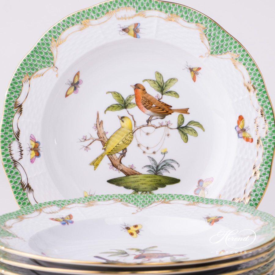 汤盘 – 6 件 – 罗丝柴尔德鸟 绿色鱼鳞纹- 赫伦细瓷