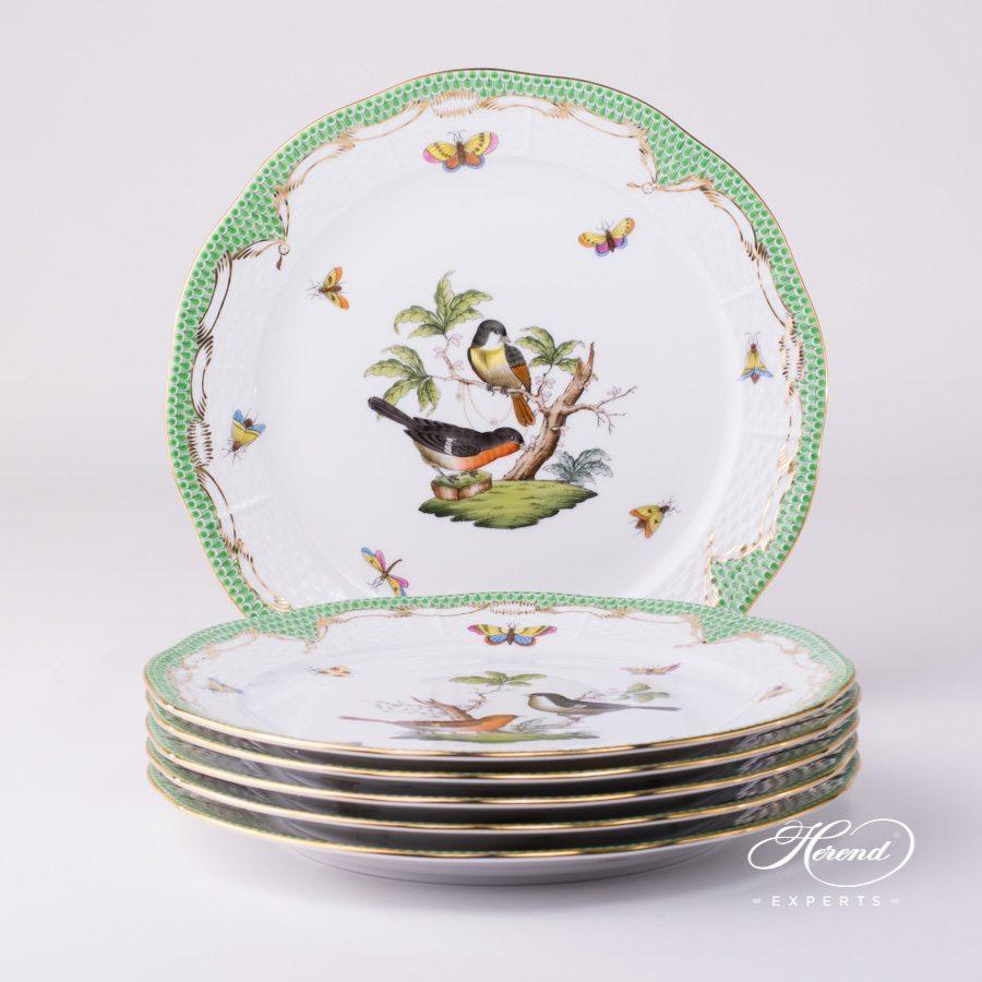 餐盘 – 6 件– 罗丝柴尔德鸟 绿色鱼鳞纹  – 赫伦细瓷