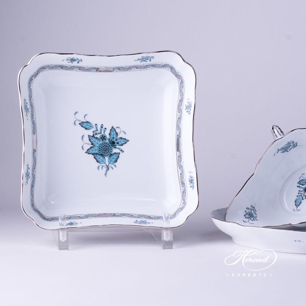 沙拉碗 – 中国花束 / 阿波尼绿松石 – 赫伦细瓷