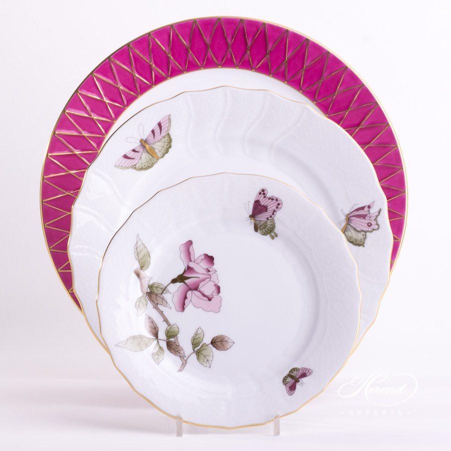 餐位餐具三件套 – 维多利亚大花版紫色 – 赫伦细瓷