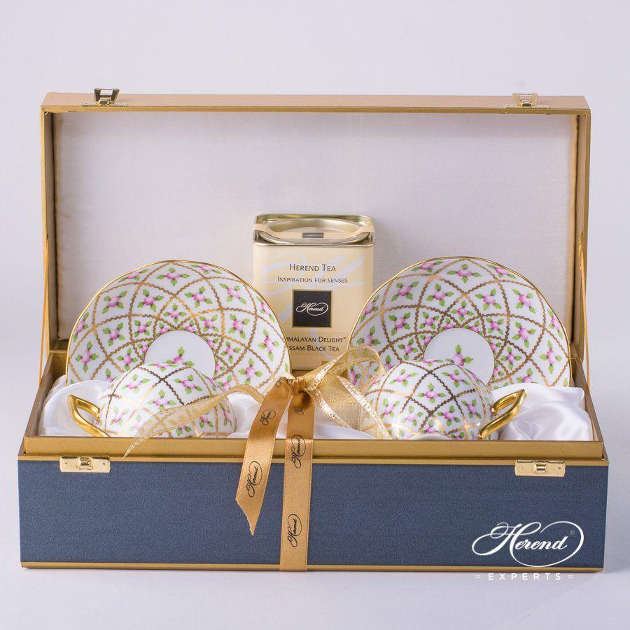 双人份茶杯礼盒装 – 赛弗勒玫瑰 – 赫伦细瓷