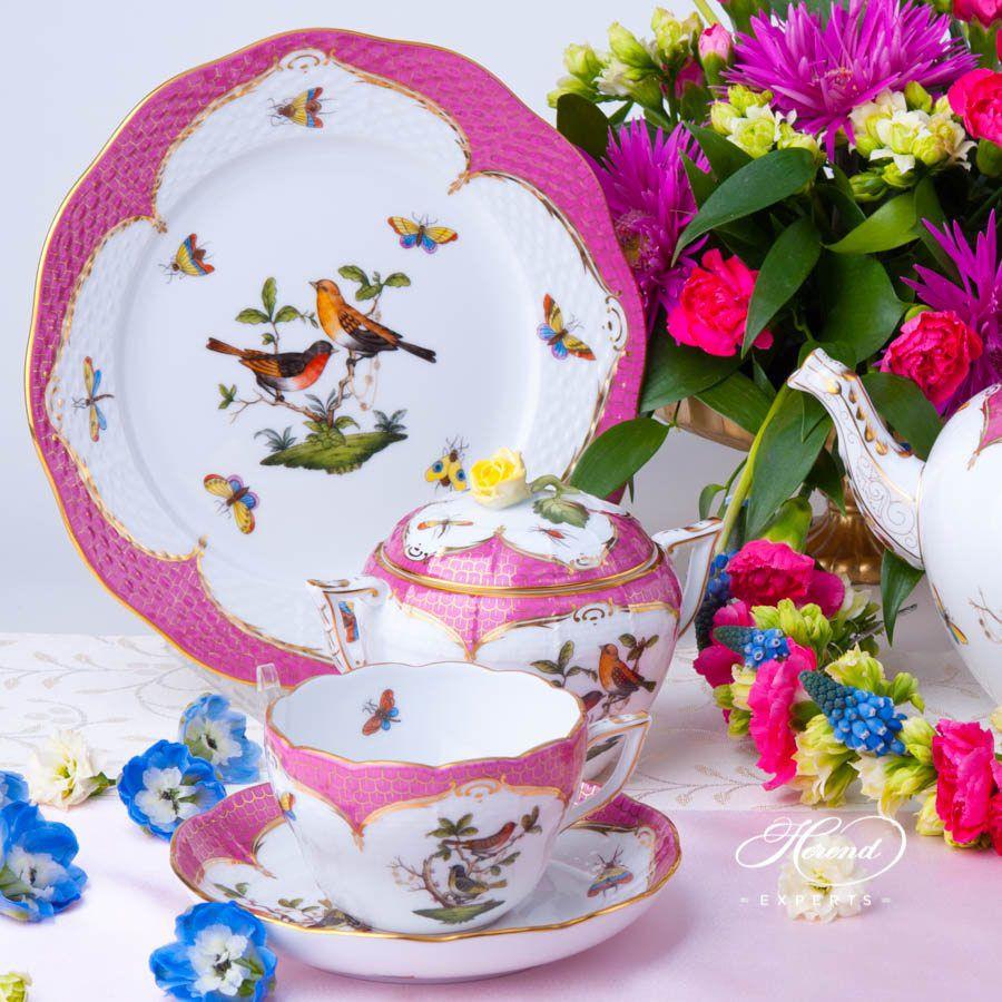茶具套装 双人用 – 罗丝柴尔德鸟 紫色鱼鳞 – 赫伦细瓷