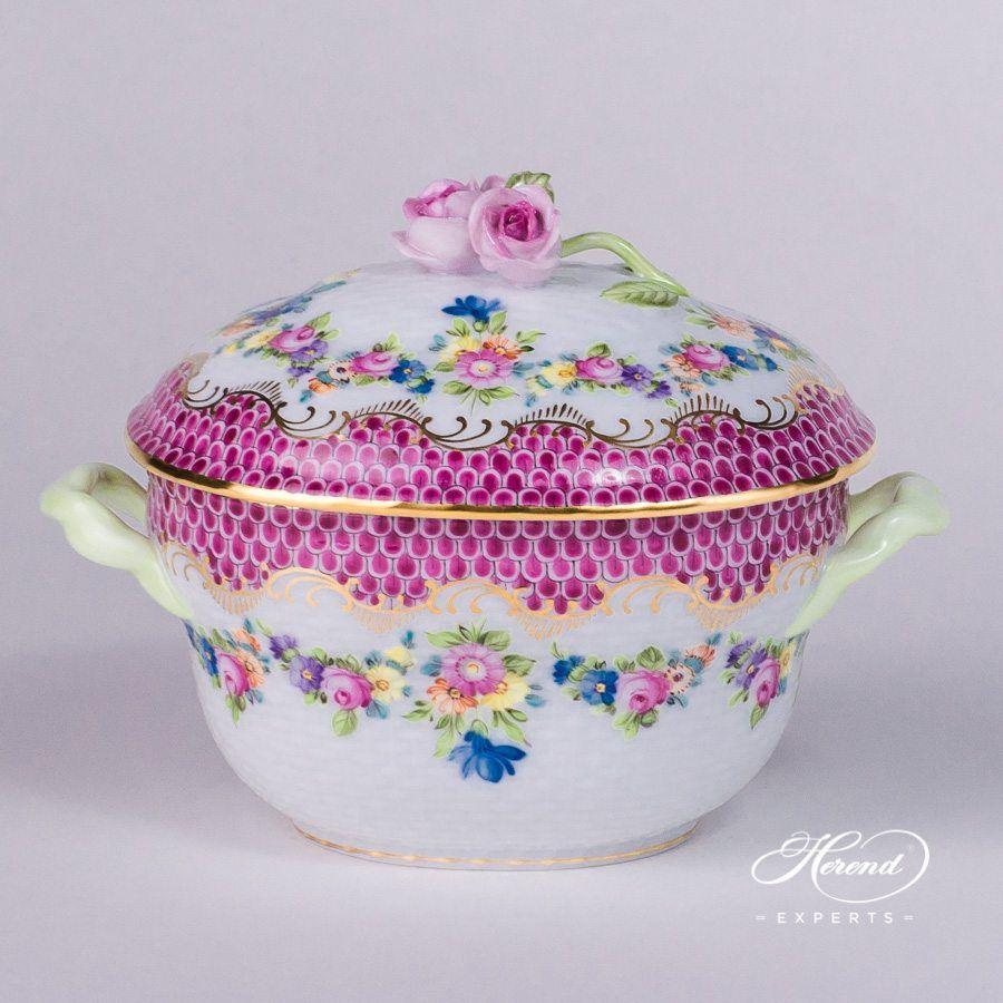 糖罐 – 花环紫色鱼鳞 – 赫伦细瓷