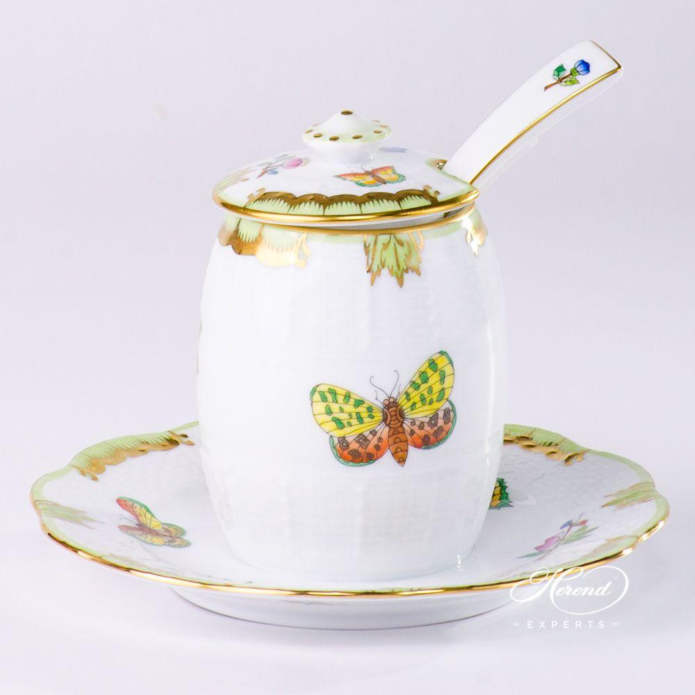 芥末罐带勺 – 维多利亚女王VBA – 赫伦细瓷