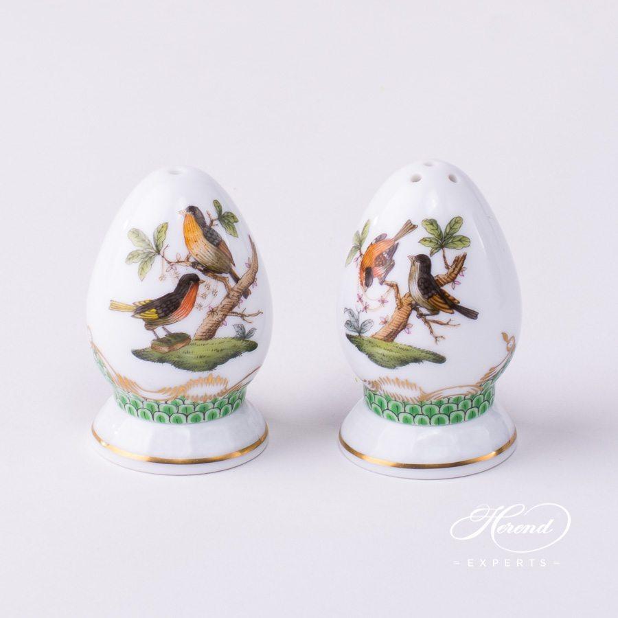 盐和胡椒罐– 罗丝柴尔德鸟 绿色鱼鳞纹- 赫伦细瓷