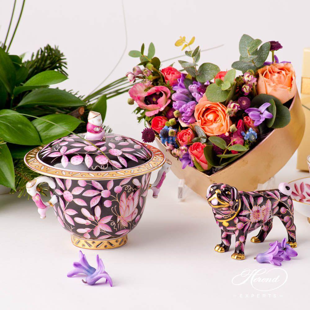 带杯盖茶杯– 紫色动物园- 赫伦细瓷