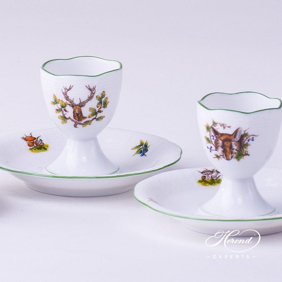 蛋杯– 3 件– 狩猎系列 – 赫伦细瓷