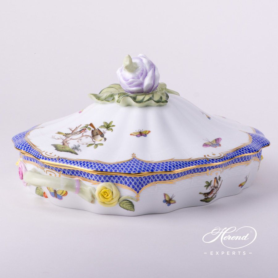 蔬菜盆 – 罗丝柴尔德鸟 蓝色鱼鳞纹 – 赫伦细瓷