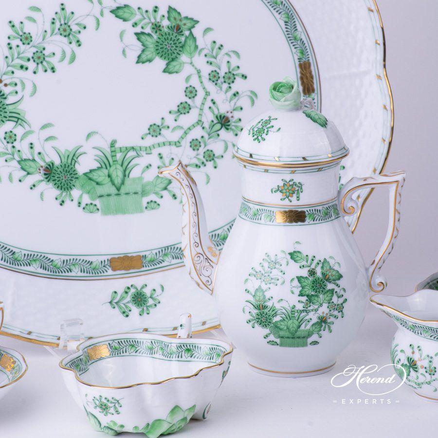 咖啡壶 – 印度花篮绿色 – 赫伦细瓷