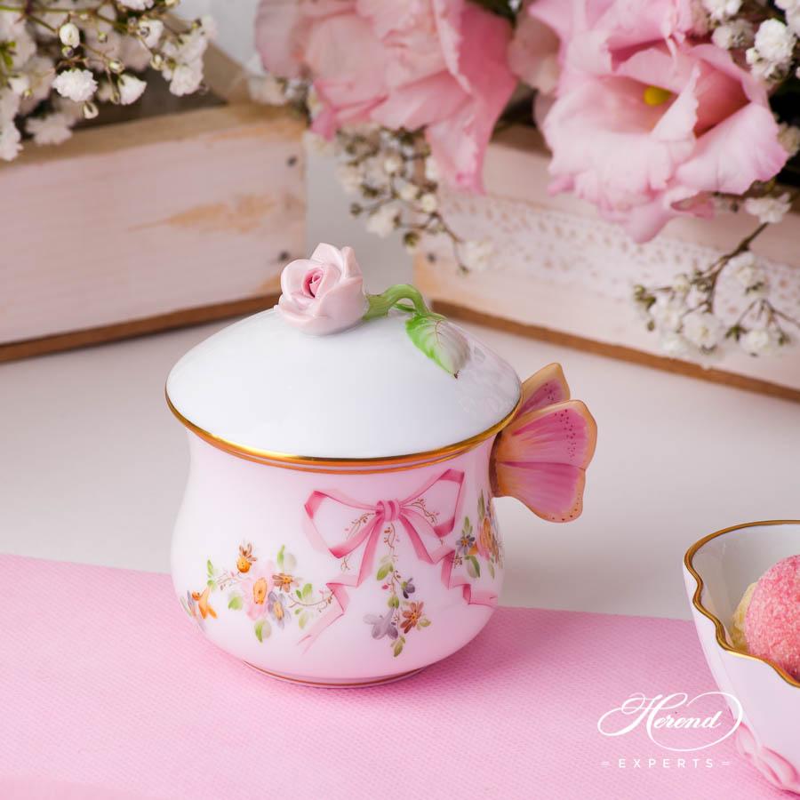 带盖奶油杯 – 伊甸园(粉色) – 赫伦细瓷