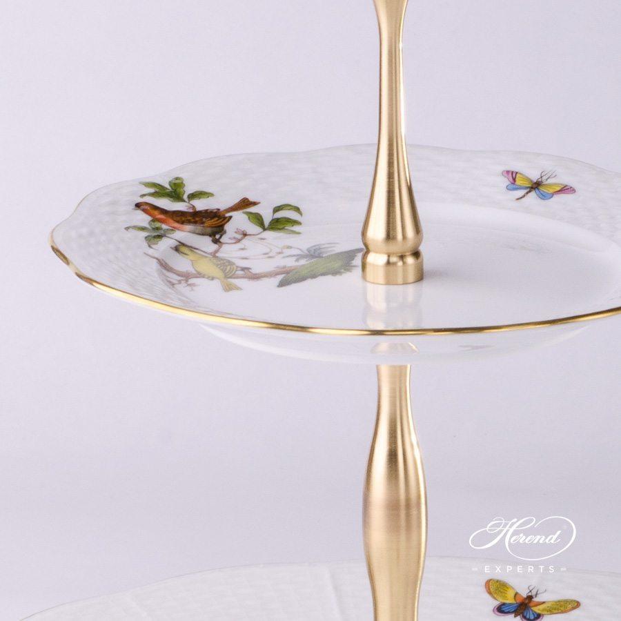 双层蛋糕架– 罗丝柴尔德鸟 – 赫伦细瓷