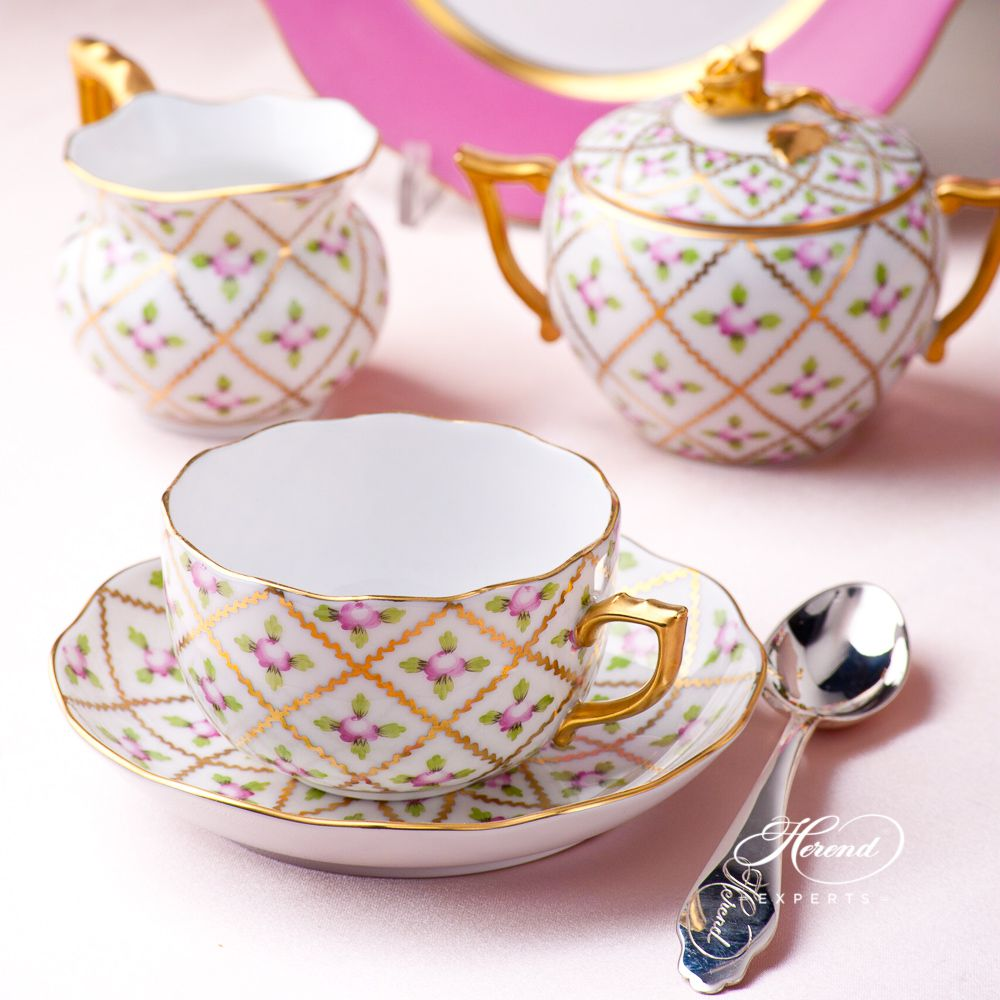 配蛋糕架茶具套装双人用– 赛弗勒玫瑰 – 赫伦细瓷