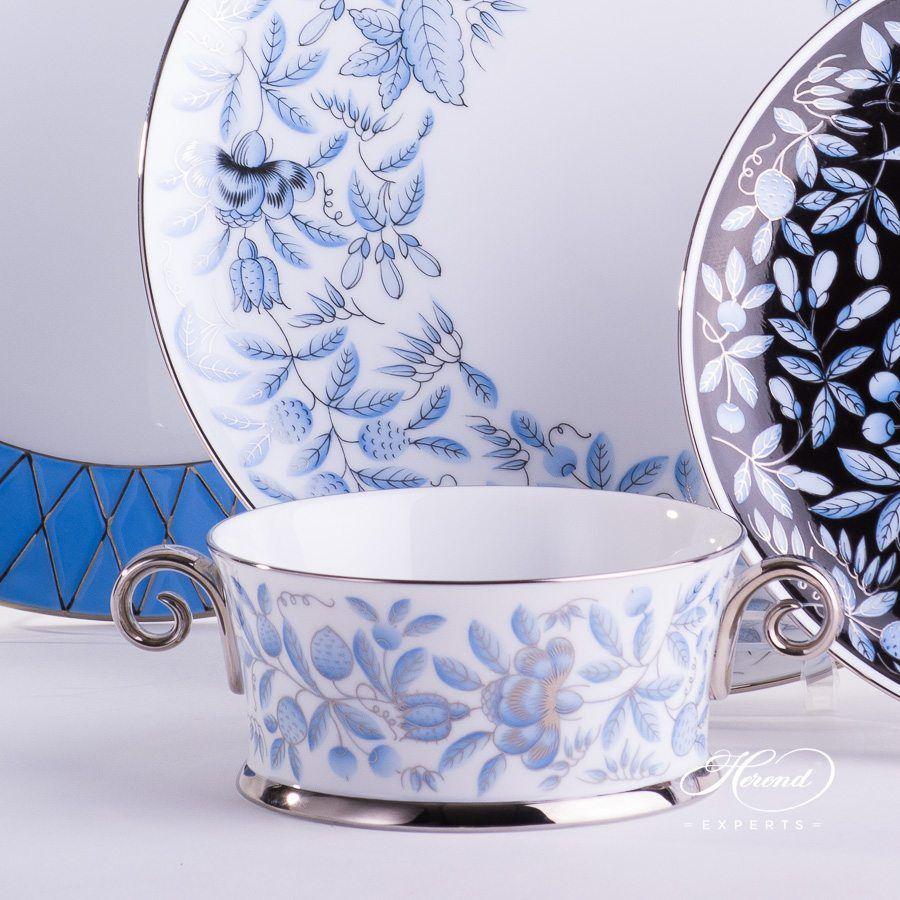 带把手的碗– 动物园蓝色 – 赫伦细瓷