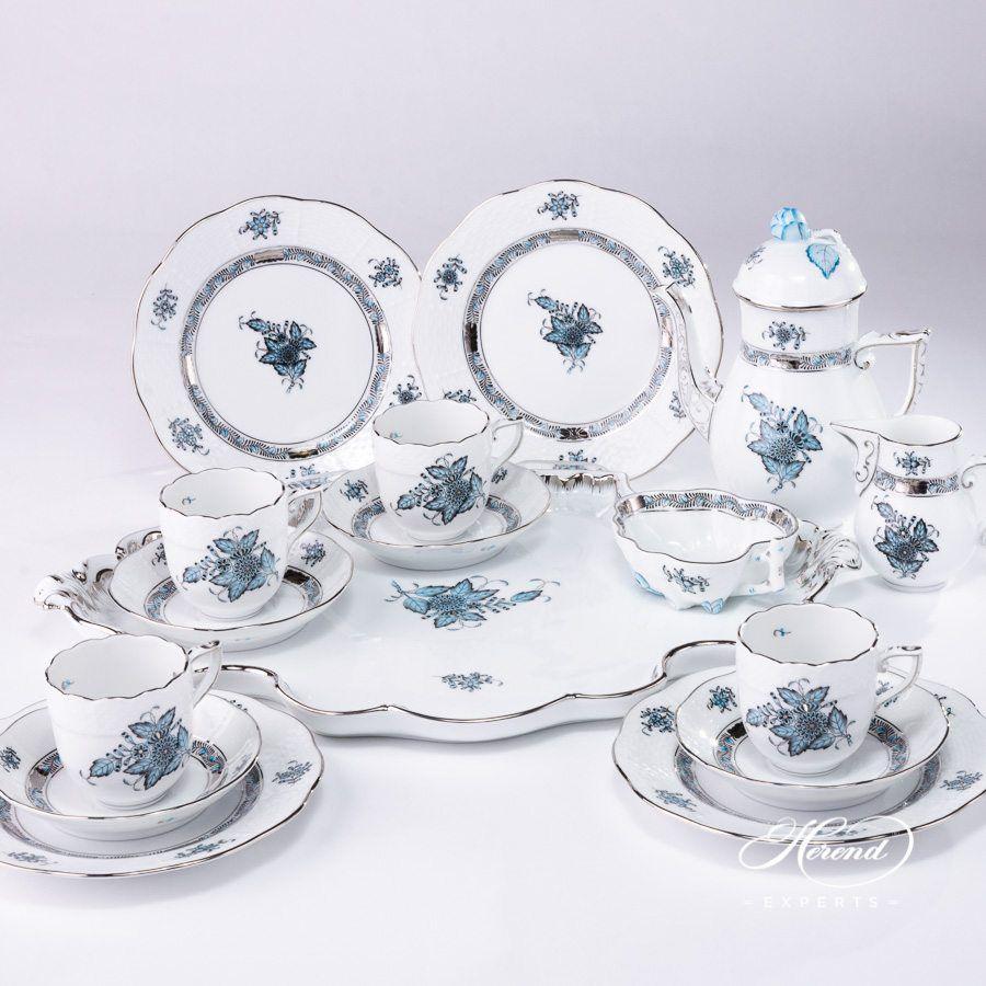 咖啡套装 四人份 – 中国花束 / 阿波尼绿松石 – 赫伦细瓷