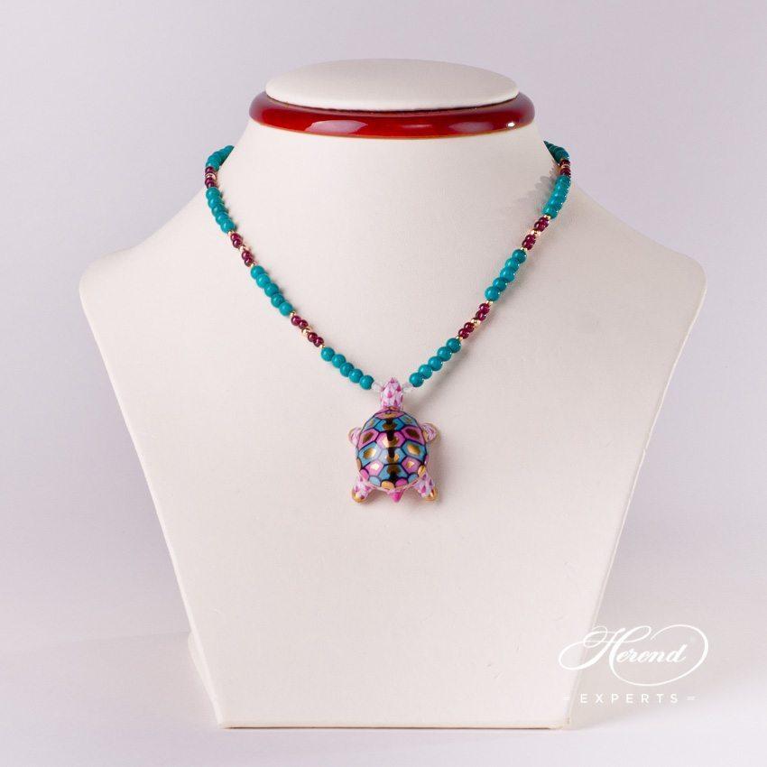 乌龟项链– 紫色- 赫伦细瓷