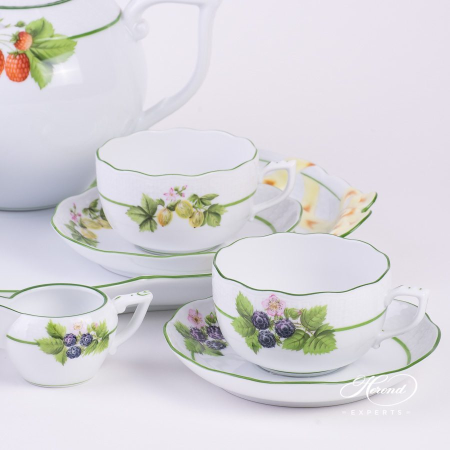 四人份茶具套装  – 浆果 – 赫伦细瓷