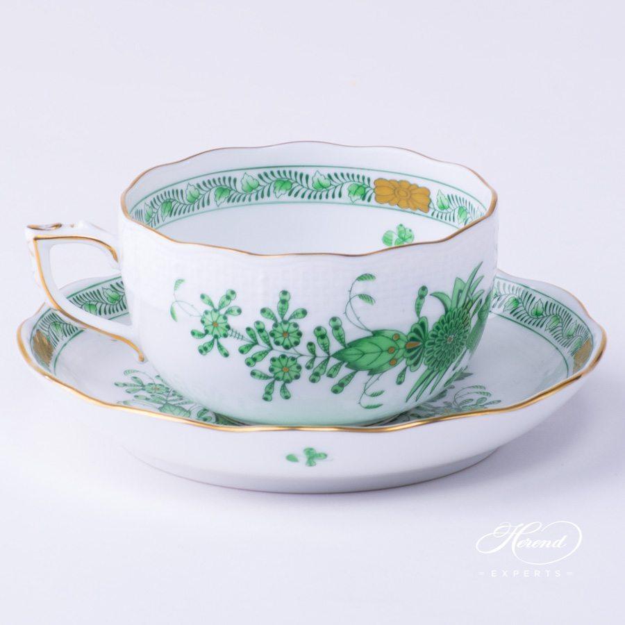 经典茶杯 – 印度花篮绿色 – 赫伦细瓷