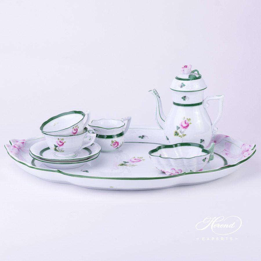 咖啡套装 双人用 配蝴蝶结把手托盘– 维也纳玫瑰 / 维也纳玫瑰 – 赫伦细瓷