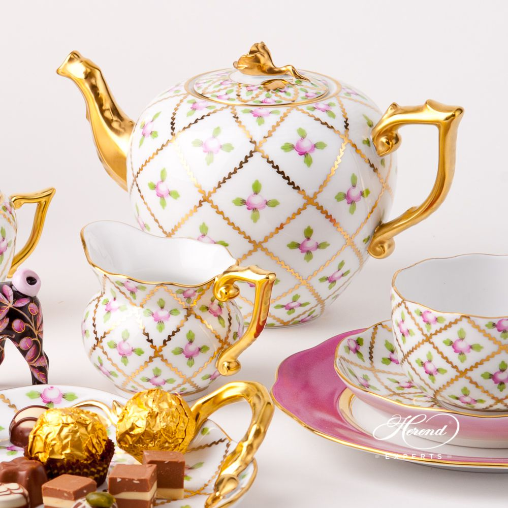 茶壶 – 微型 – 赛弗勒玫瑰 – 赫伦细瓷